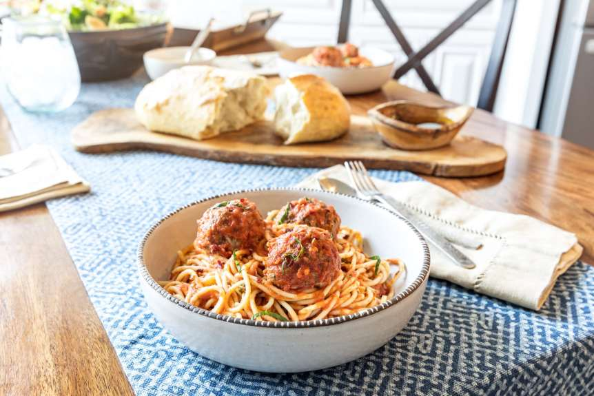 Terri Glanger Food Beverage Photography, commercial food, food photography, advertising, restaurant, editorial, cookbooks, table top, food styling, prop styling, lifestyle, kids, cooking, family, eating, entertaining, kitchen, meatballs, spaghetti