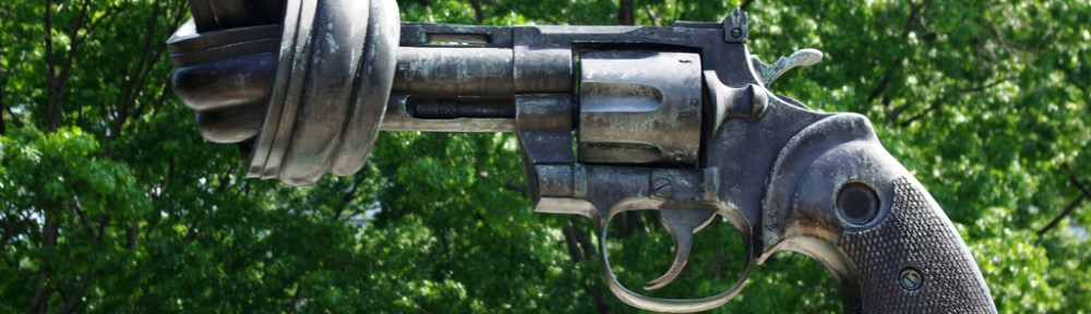 The twisted barrel gun sculpture, Non-violence, stands outside the UN building in New York. It mirrors the turning tide in public opinion on gun control. [Alan English]