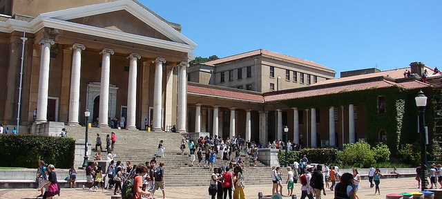 Students on the campus of the University of Cape Town