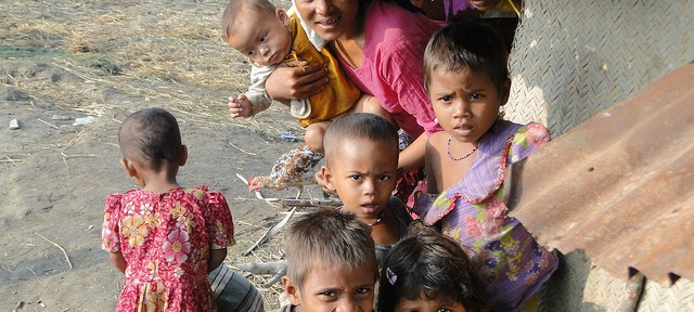 Rohingya children in a refugee camp.