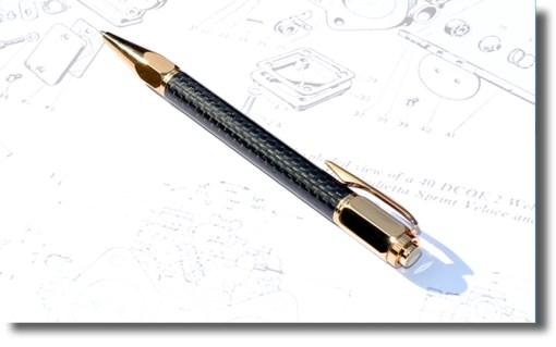 Gold Vertex Carbon Fibre Ballpoint Pen
