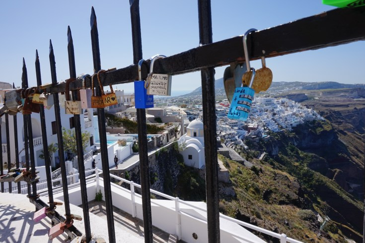 Padlocks on a fence in Santorini