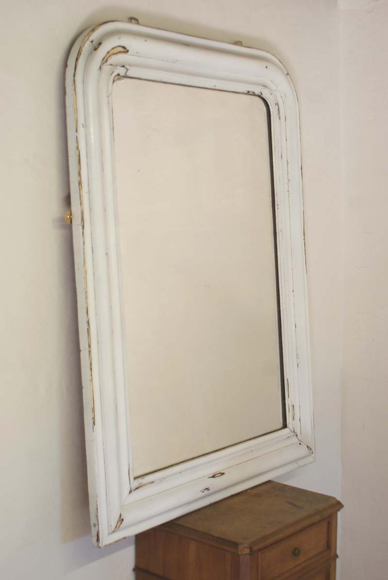 Large Antique French White Mirror Louis Philippe 77 Cm X