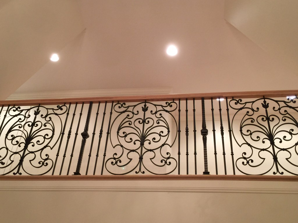 Balusters and panels installed on the balcony.