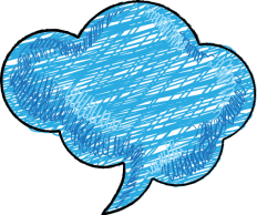 Blue speech bubble