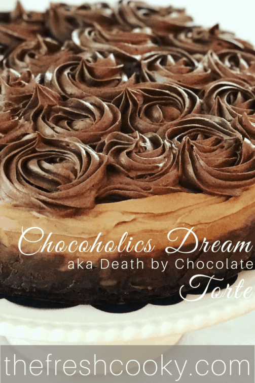 Chocoholic Dream Torte   www.thefreshcooky.com #triplechocolate #chocolatetorte #brownie #ganache