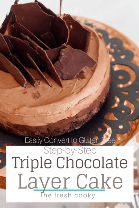 Triple Chocolate Chocolate Mousse Cake - A brownie layer on bottom with a rich, fudgy chocolate ganache and topped with a light chocolate mousse! #thefreshcooky #triplechocolate #cake #torte #layercake #cakedecorating #easy #celebration #birthday #holidaybaking #altitude