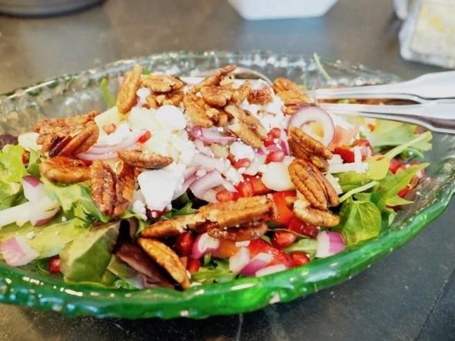 Sweet Maple Apple Pecan Salad in glass bowl | www.thefreshcooky.com
