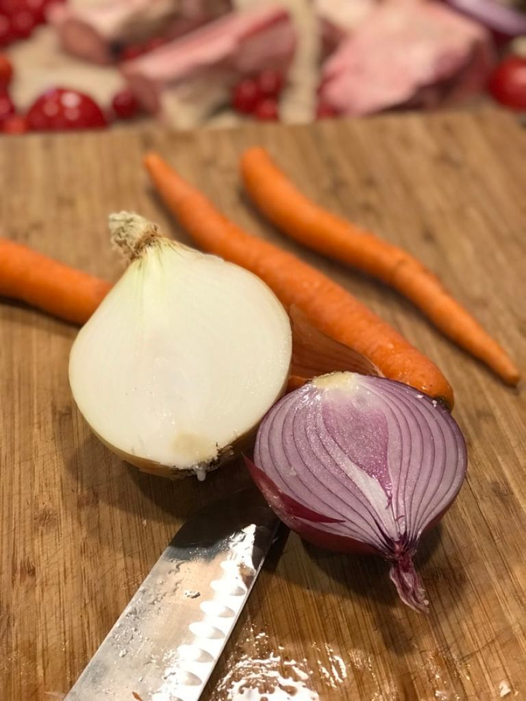 chopped veggies for beef bone broth | www.thefreshcooky.com