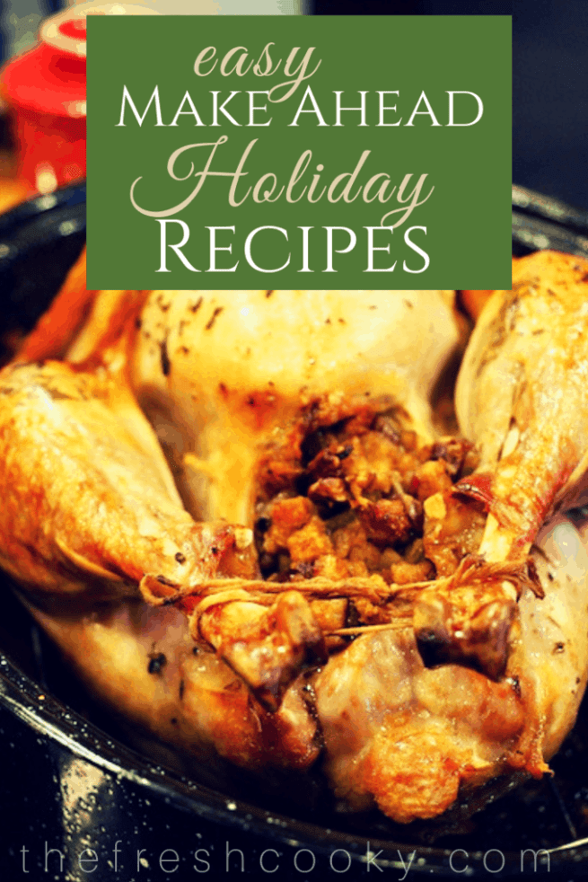 A complete Thanksgiving or Christmas meal with easy, simple and mostly make-ahead recipes for herb butter roasted turkey, garlic mashed potatoes, sausage stuffing, giblet gravy, praline sweet potatoes (yams), cranberry relish and quick yeast rolls. #thefreshcooky #thanksgivingdinner #recipes #thanksgivingrecipes #easy #makeahead #delicious #bestholidayrecipes #christmasdinner #thanksgivingdinnerrecipes #holidayrecipes