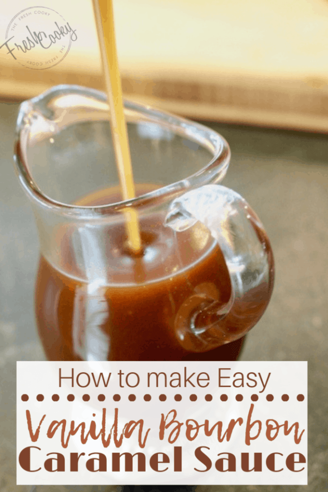 Click the image for simple, step-by-step instructions on how to make delicious vanilla bourbon caramel sauce. Vanilla Bourbon Caramel Sauce is the perfect sauce poured over ice cream, drizzled over apples or on top of an apple crisp, pie or muffins! #thefreshcooky #caramel #sauce #vanilla #bourbon #fallbaking #thanksgiving #recipe #dessert