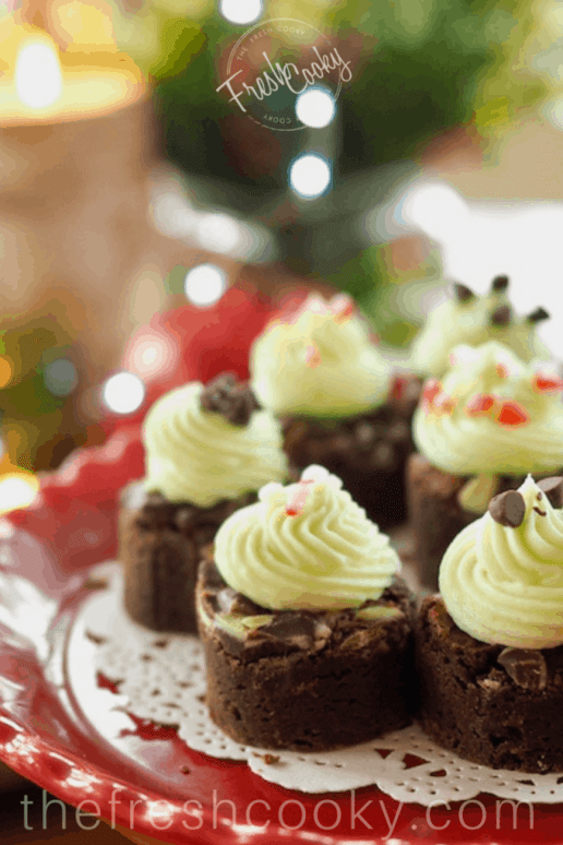 Holiday Mint Brownie Bites   www.thefreshcooky.com