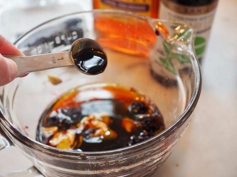 Tamari into Blackberry Grilled Chicken Salad | www.thefreshcooky.com #freshsalad #springsalad #blackberrys #friedgoatcheese
