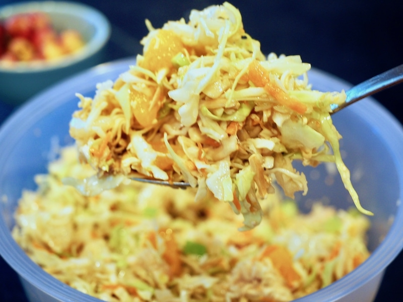 Asian Ramen Noodle Salad in bowl | www.thefreshcooky.com #asianramennoodlesalad