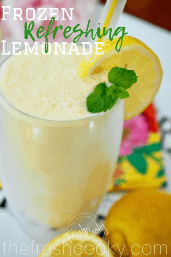 This simple recipe for frozen lemonade is creamy, tart and smooth! A must make this Summer! #frostedlemonade #frozenlemonade #copycat #chickfila #lemonade #summerdrinks #thefreshcooky