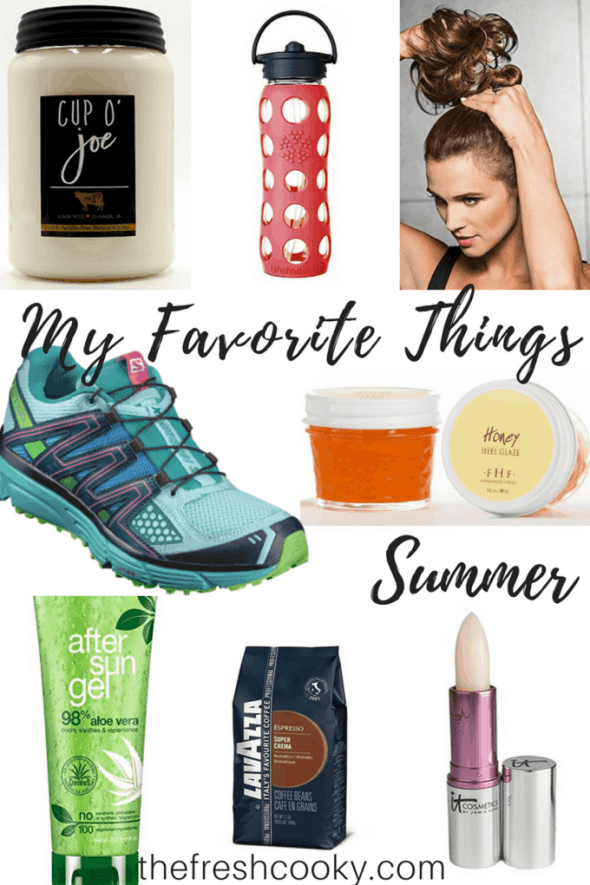 My Favorite Things Summer #thefreshcooky #lifefactory #messybun #candle #milkhouse #aloevera #farmhousefresh #coffee #liptint