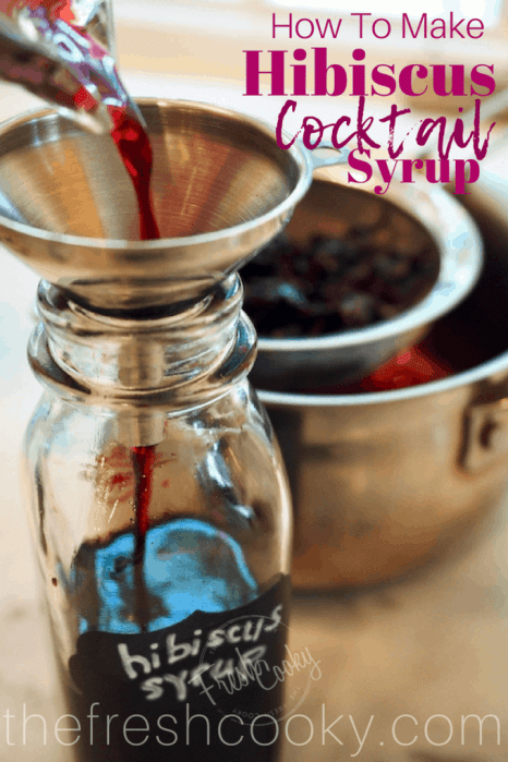 How to make Hibiscus Simple Syrup! This recipe from thefreshcooky is well, simple and oh so delicious! Use it for craft cocktails, mojitos, stir into iced-tea, spritzers or a twist on a Shirley Temple. Made with dried, natural hibiscus flours, natural sugar and water! Makes a lovely gift as well! #floral #cocktail #hibiscussyrup #simplesyrup #hibiscus #flowerycocktail #driedhibiscusflowers #syrup #mocktails