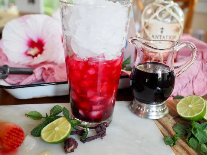 This refreshing recipe for a Hibiscus Mojito from thefreshcooky is perfect for summer patio sipping or a GNO. The minty, fizzy mojito is jazzed up with the tangy, floral, lemony flavors of Hibiscus syrup. #hibiscusmojito #mojito #hibiscussyrup #mocktails #hibiscus #summerdrinks #fallcocktail #summercocktail #gnococktails #craftcocktails