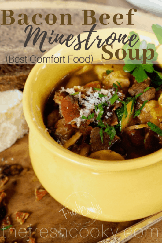Warm up with this hearty minestrone soup with smokey bacon and tender beef bits! This classic Italian soup recipe is easy to make and tastes amazing. #thefreshcooky #soup #healthyrecipe #bacon #beef #minestrone