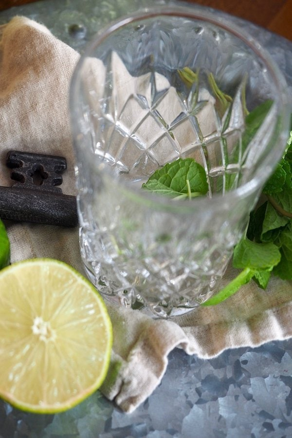 Cocktail Glass with Mint Leaves, Lime | www.thefreshcooky.com