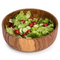 9-Inch Handcrafted Indonesian Round Teak Wood Salad Serving Bowl
