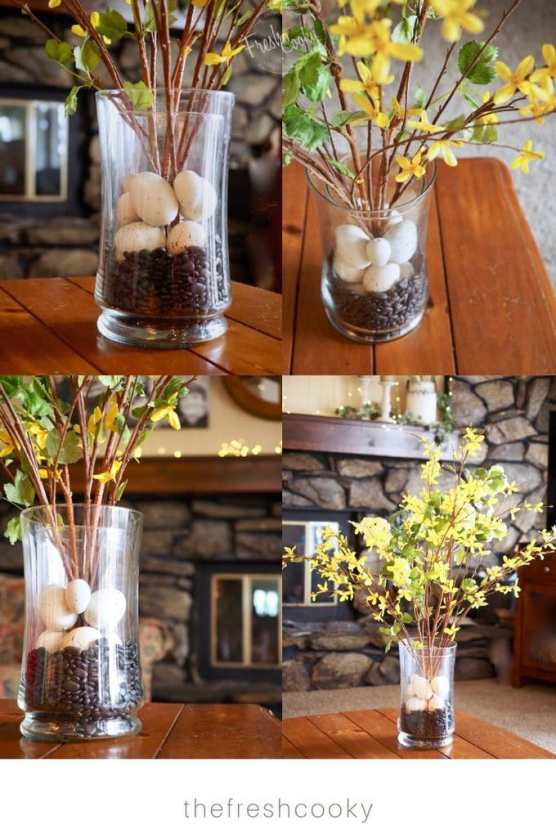 4 pictures showing various angles of spring floral arrangment