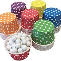 Rainbow Theme Candy/Nut Mini Baking Paper Treat Cups - Red Yellow Blue Green Purple Orange - Polka Dot - 48 Pack