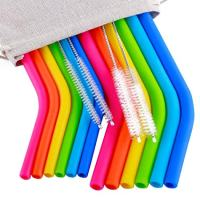 """Reusable Straws 6Pcs 10"""" REGULAR SIZE Silicone Straws+ 6Pcs 10"""" Medium Silicone Straws for 30&20OZ Yeti/Ozark/Rtic Tumblers+4 Brushes+ 1 Storage Pouch"""