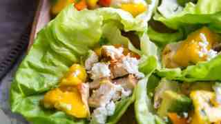 Chicken Lettuce Wraps with Mango Salsa