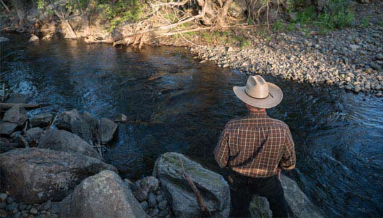 A farmer and landowner looks over the river we helped to conserve and restore