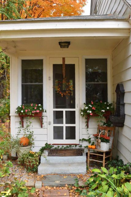 Screen Porch Entry With Fall Decor The Front Door Project