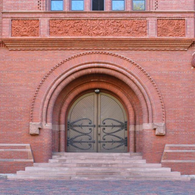 sever hall, harvard university, richardsonian romanesque, architecture, brick, cambridge, massachusetts