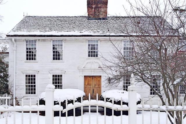 Judah Woodruff House in Farmington, CT covered in snow.