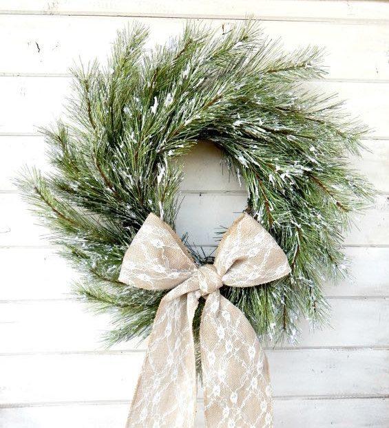 winter, wreath, pine