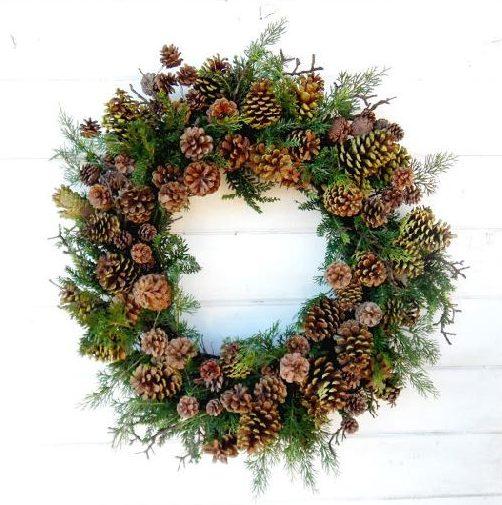 wreath, christmas, winter, pinecones