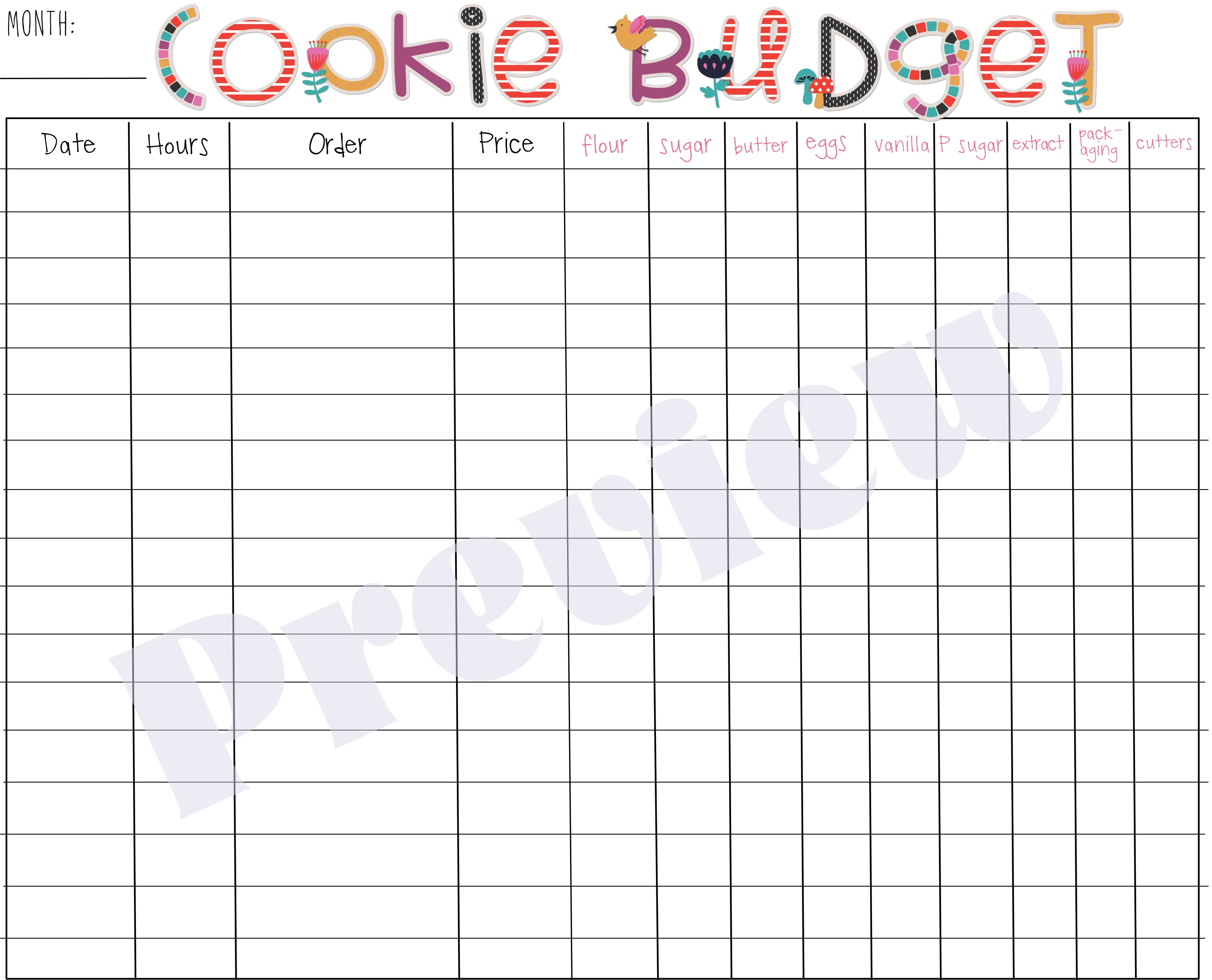 Monthly Cookie Budget Spending Sheet
