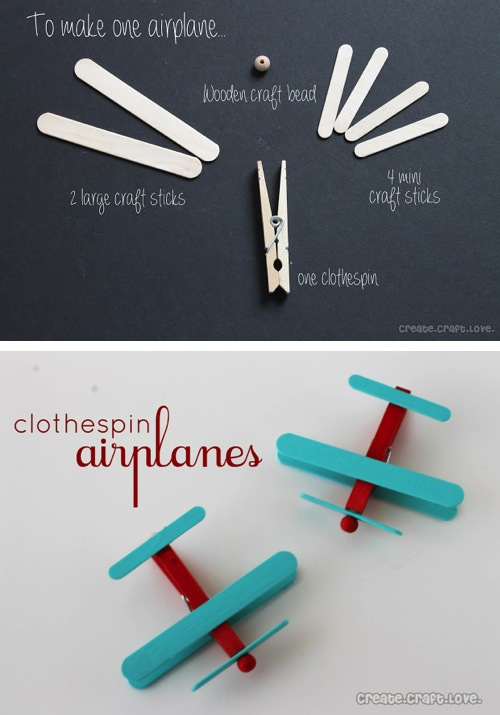 DIY Clothespin Airplanes
