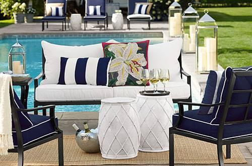navy conversation patio set
