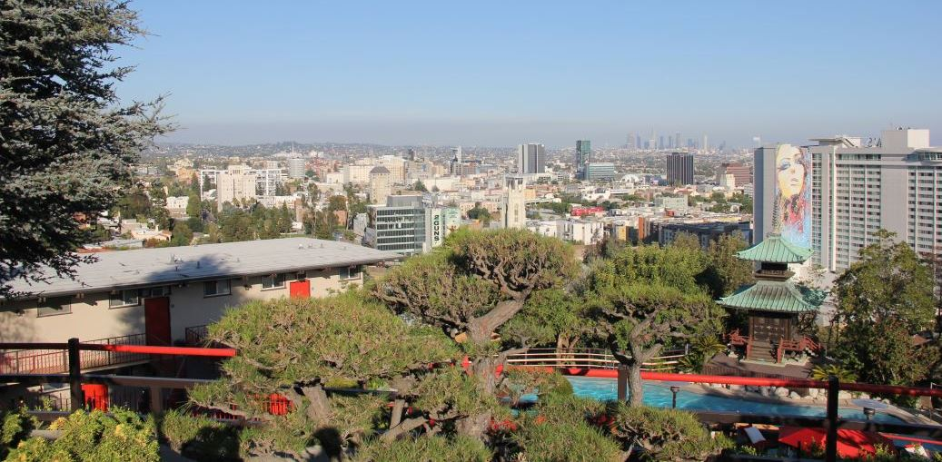 View of downtown L.A. from the gardens of Yamashiro