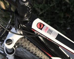 Bike registration sticker with QR code