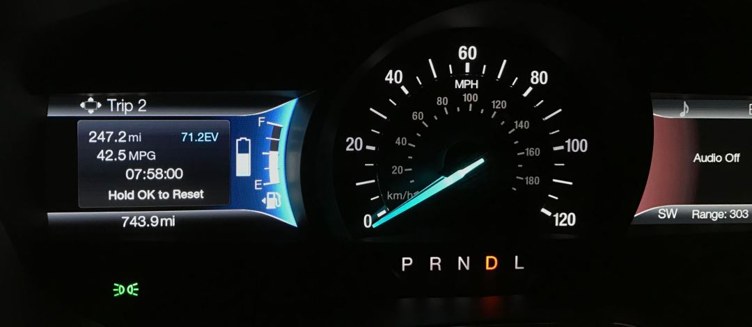 Ford Fusion dashboard showing 42.5 MPG