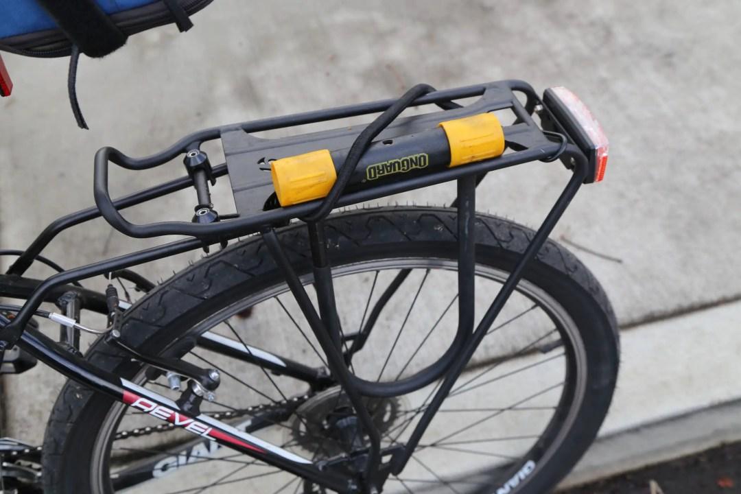 U-lock on bike rack