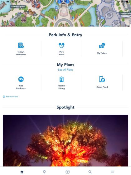 Screenshot of the MyDisney app