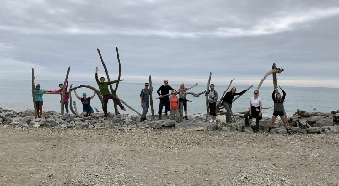 Our group posing at the beach at Hokitika