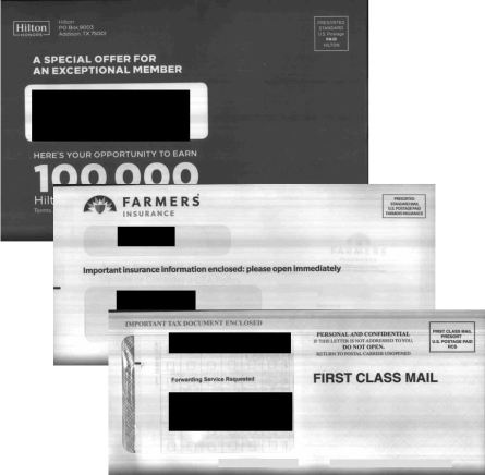 Scanned mail images from USPS' Informed Delivery