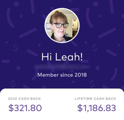 screenshot of cashback app earnings