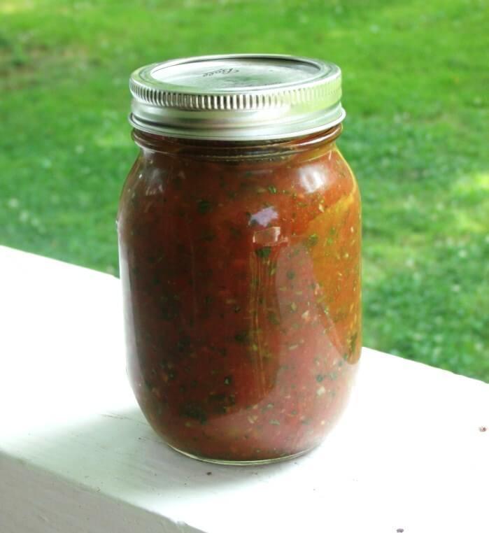 homemade fresh salsa in a mason jar