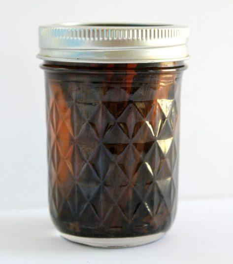jar of homemade vanilla extract