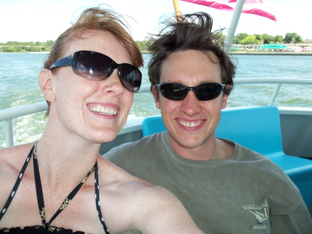 couple selfie on a boat