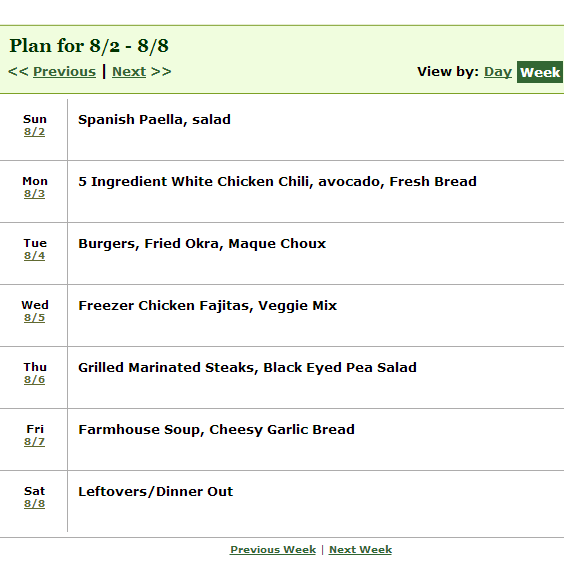 week long dinner meal plan schedule